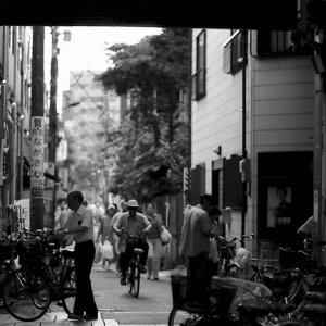 Bicycles in shopping arcade