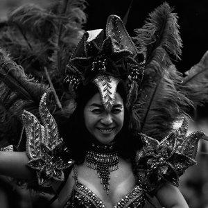 Woman dancing samba in Asakusa