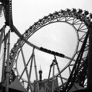 coaster and ferris wheel