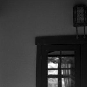 glass door of old house