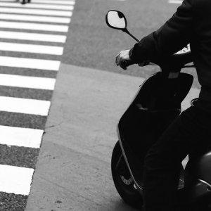 motorbike and pedestrian crossing