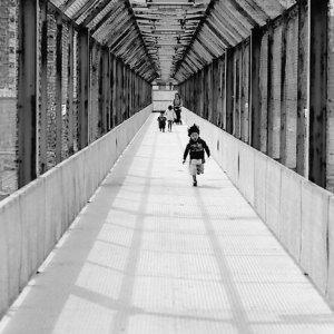 Boy running passage