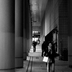 Woman walking while calling