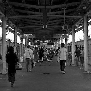 People walking on platform