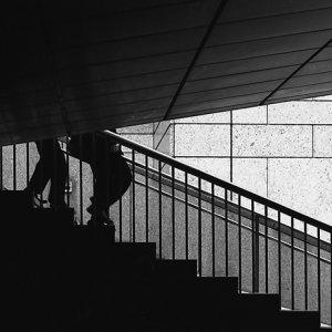 Legs descending stairway