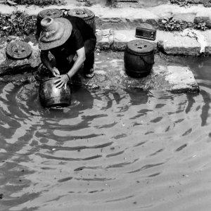 川の水で壺を洗う女性