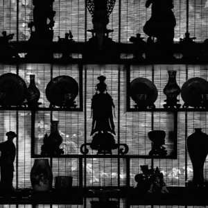 Silhouetted ornaments in Lingering Garden