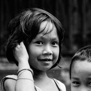 Girl playing in street in Intramuros
