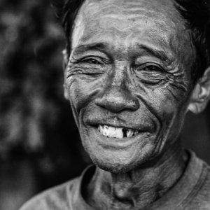 Wrinkled face of man