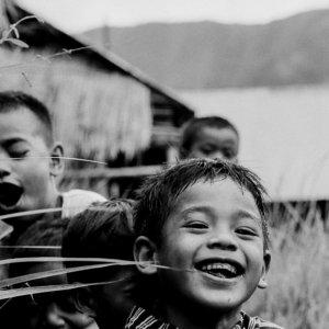 Smile of boy on mountain path