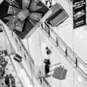 Many present boxes hung in the air