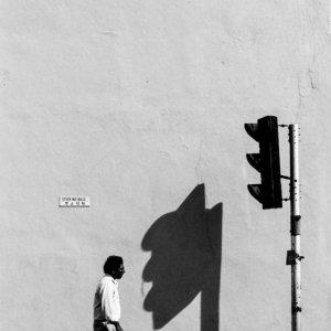 Shadow of traffic signal on wall