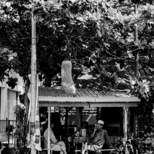 Men relaxing in cafe