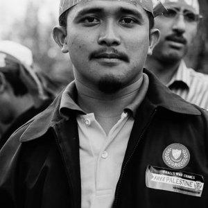 Participant wearing headband