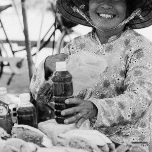 Woman selling honey