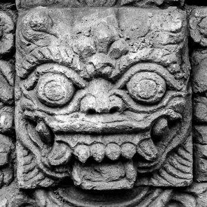 Awful face in Hindu temple