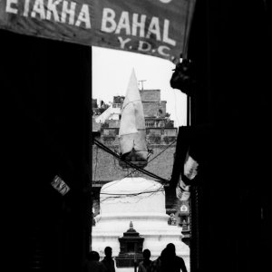 Welcoming banner in lane to bahal