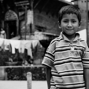 Boy standing in square