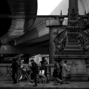 Pedestrians on Nihonbashi Bridge