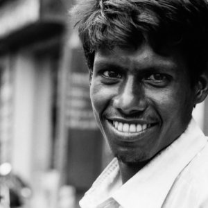 Man with pure white teeth