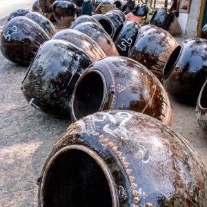 Jars on ground