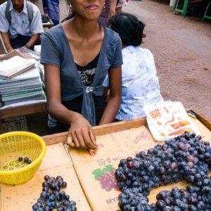 葡萄を売る若い女