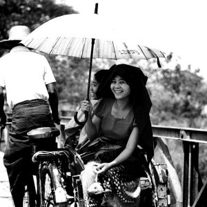 Woman smiling on pedicab