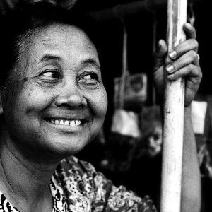 Woman smirking