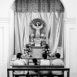 Family in front of altar