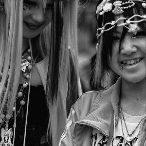 Smiling girls in punk fashion