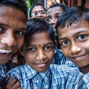 School boys having field trip