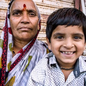 Older woman and grandson