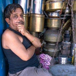 Man in hardware shop