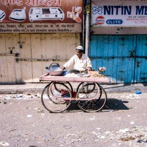 Man sitting on wagon