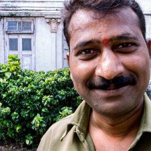 Man wearing vivid Bindi