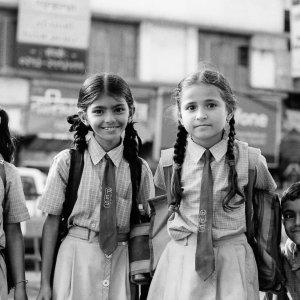 Five school kids