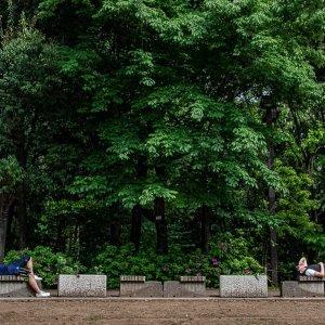 ベンチで昼寝する男たち