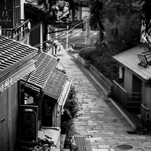 Deserted stone paved street in Kyoto