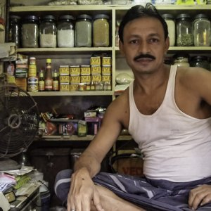Man working in spice shop