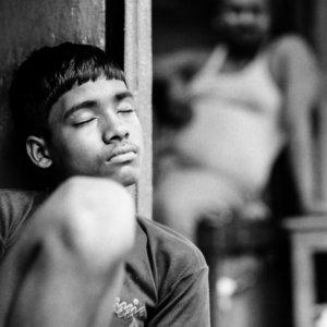 Young man sleeping comfortabley