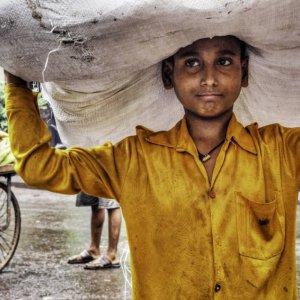 Boy carrying big burden