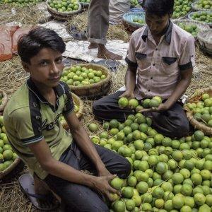 Men selling orange