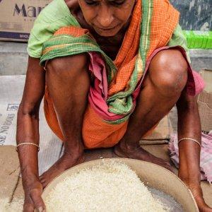 Older woman sifting