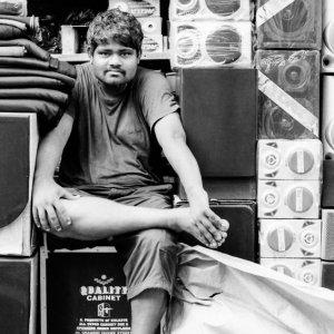 Man selling audiovisual goods