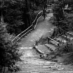 man walking path alone
