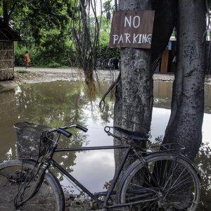 駐車禁止の張り紙の下の自転車
