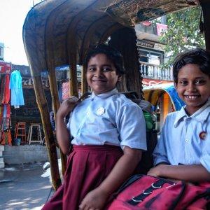 Two girls on cycle rickshaw