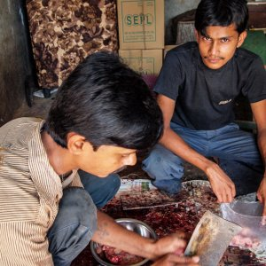 Two men in butcher