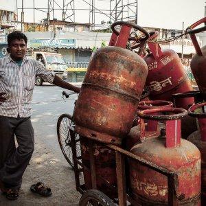 Man delivering gas cylinders