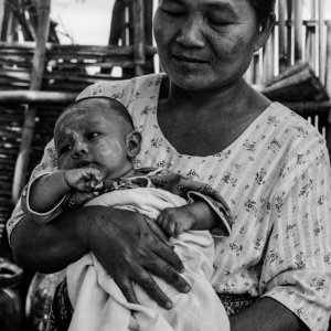 Older woman holding baby